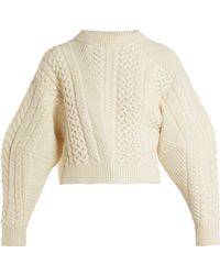 Stella McCartney - Cable Knit Wool Blend Jumper - Lyst