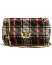 Balenciaga - Bb Round Plaid Bag - Lyst