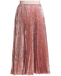 MSGM - Sequinned Pleated Midi Skirt - Lyst