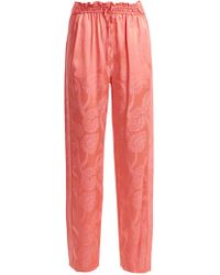 Peter Pilotto High Rise Floral Jacquard Satin Pants