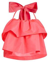 MSGM - Detachable-bow Tiered Faille Top - Lyst