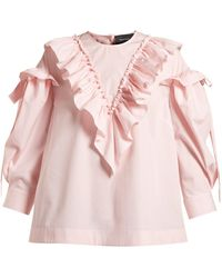 Simone Rocha - Ruffled Trim Cotton Blouse - Lyst