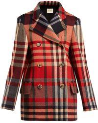 Khaite Clara Double Breasted Checked Wool Blend Coat