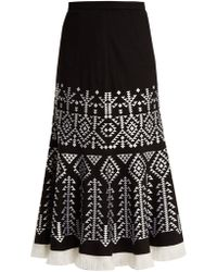 Andrew Gn - Black & White Knit Embroidered Flounce Skirt - Lyst