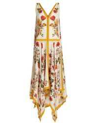 Alexander McQueen - Floral-print Rouleau-button Sleeveless Dress - Lyst