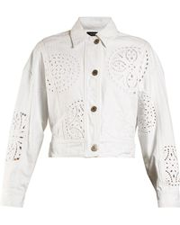 Isabel Marant - - Rena Broderie Anglaise Denim Jacket - Womens - White - Lyst