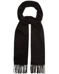 Alexander McQueen - Logo Embroidered Fringed Cashmere Scarf - Lyst