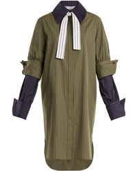 J.W.Anderson - Double-cuff Pinstriped Cotton Shirtdress - Lyst