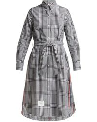 Thom Browne - Checked Cotton Shirtdress - Lyst