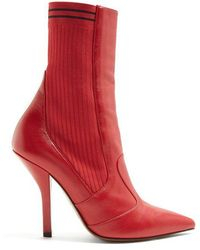 Fendi - Leather And Ribbed-knit Ankle Boots - Lyst
