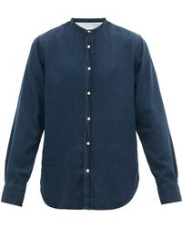 Officine Generale Gaspard Garment Dyed Cotton Chambray Shirt - Blue