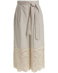Zimmermann - Meridian Striped Broderie-anglaise Cotton Trousers - Lyst