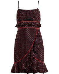 Self-Portrait - Cut Out Frilled Mini Dress - Lyst
