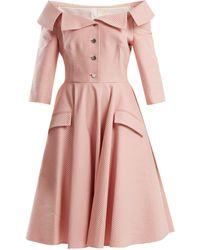 Sara Battaglia - Off-the-shoulder Gingham Dress - Lyst