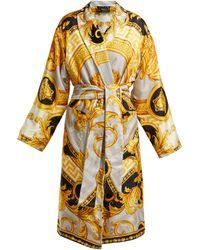 Versace - La Coupe Des Dieux Baroque Print Silk Robe - Lyst