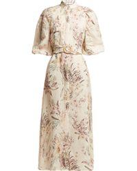 Zimmermann - Wayfarer Floral Print Linen Dress - Lyst