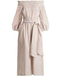Caroline Constas - Lou Off-the-shoulder Striped Cotton Jumpsuit - Lyst
