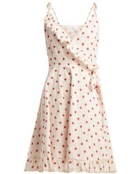 Athena Procopiou - Embroidered Cotton-blend Wrap Dress - Lyst