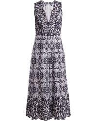 Jonathan Simkhai - V-neck Geometric-embroidered Cotton Jumpsuit - Lyst