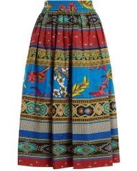 Etro - Jungle-print Gathered Cotton Midi Skirt - Lyst