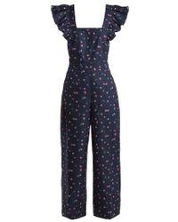 Rebecca Taylor - Farren Floral-print Cotton-linen Jumpsuit - Lyst