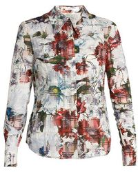 Erdem - Sloane Floral-print Cotton-blend Seersucker Shirt - Lyst