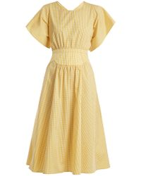 N°21 - Gingham Gathered Cotton Dress - Lyst