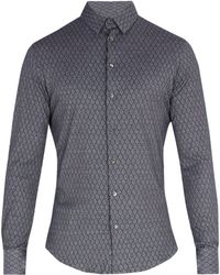 Giorgio Armani - Single Cuff Diamond Print Cotton Shirt - Lyst