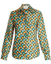 LaDoubleJ - Geometric Print Silk Shirt - Lyst