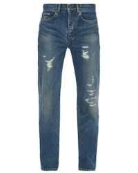 Saint Laurent - Distressed Relaxed-fit Jeans - Lyst