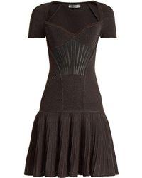 Alexander McQueen | Sweetheart-neck Short-sleeved Wool-blend Dress | Lyst