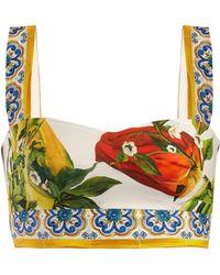 Dolce & Gabbana - Printed Cotton Bralette - Lyst