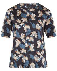 Meng - Floral Leaf-print Silk-satin Pyjama Top - Lyst