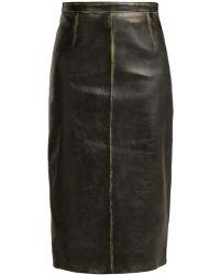 Miu Miu - Distressed-leather Pencil Skirt - Lyst