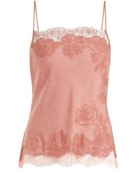 Carine Gilson - Lace-trimmed Silk-satin Cami Top - Lyst