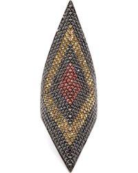 Lynn Ban - Prism Sapphire & Rhoduim Plated Ring - Lyst