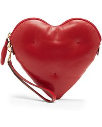Anya Hindmarch - Red Chubby Heart Leather Clutch Bag - Lyst