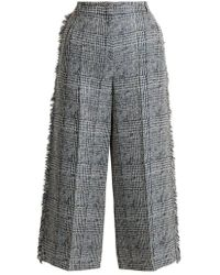 Erdem - Beth Checked Frayed Edged Cropped Trousers - Lyst