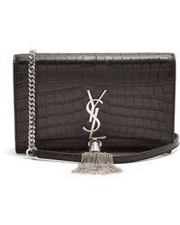 Saint Laurent | Kate Small Crocodile-effect Leather Cross-body Bag | Lyst