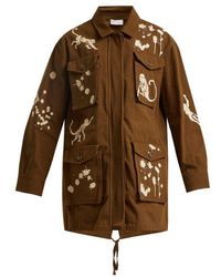 RED Valentino - Monkey-print Cotton Military Jacket - Lyst