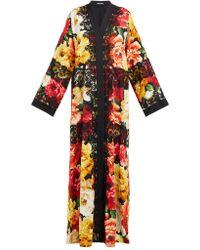9821e077362 Dolce & Gabbana - Peony Print Lace Trim Silk Blend Coat - Lyst