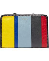 Balenciaga - Bazar Mini Striped Leather Pouch - Lyst