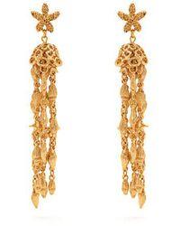 Oscar de la Renta - Shell-beaded Tassel-drop Earrings - Lyst