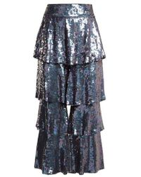 OSMAN - Felix Tiered Sequin-embellished Trousers - Lyst