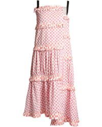 Loewe - Tiered Checkerboard-print Dress - Lyst