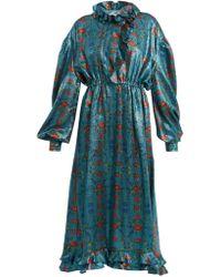 Preen By Thornton Bregazzi - Linnet Floral Print Silk Blend Lamé Midi Dress - Lyst