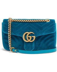 661e8c57ccff Gucci - Gg Marmont Small Quilted Velvet Shoulder Bag - Lyst