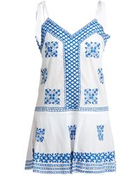 Juliet Dunn   Shoulder-tie Embroidered Cotton-voile Kaftan   Lyst