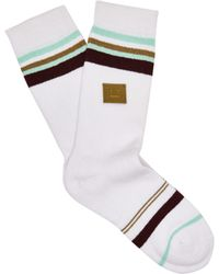 Acne Studios - Striped Cotton Blend Socks - Lyst