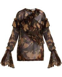 Preen By Thornton Bregazzi - Bella Camouflage Print Silk Chiffon Blouse - Lyst